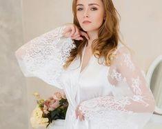 a9ddbd7cd Bride kimono robes satin peignoirs sexy lace por SecretLoveLingerie Lingerie  Da Sposa