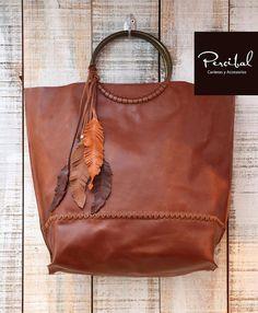 Oversize Leather Bag Oversized handbag brown leather by Percibal