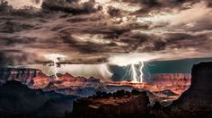 Lightning storm over Grand Canyon National Park, Arizona (© Scott Stulberg/Corbis) July to September is thunderstorm season at Grand Canyon National Park and the surrounding wilderness. A count taken from 1997 to 2000 found that lighting struck somewhere in the canyon an average of 26,073 times per year. As long as visitors are in a safe place – preferably indoors or at a spot where the span between flash and thunder is longer than 30 seconds – the show can be spectacular