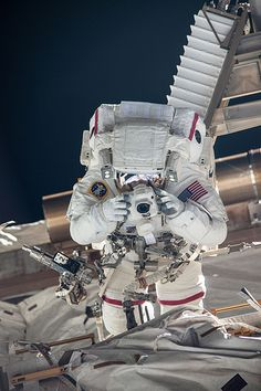 NASA Astronaut Chris Cassidy spacewalk outside the Shuttle.