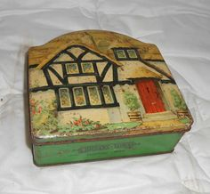 RARE Vintage Advertising SWEETS Tin - Tuckers of TOTNES House Design TOFFEE