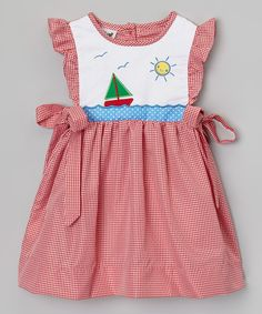 Look at this #zulilyfind! Red Sailboat Smocked Dress - Infant, Toddler & Girls by Smock Candy #zulilyfinds