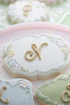 Flowery Monogram Cookies Sweetopia