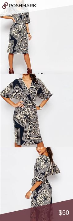 ASOS River Island Printed Kimono Wrap Dress Beautiful dress in black, cream, and a touch of pink! freshly dry cleaned! product code: 823885 River Island Dresses