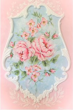 French rococo decorative beautiful romantic floral original- printed on fine art gallery wrap canvas matt finish hanger on back.