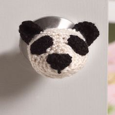 Panda Doorknob Cozy free crochet pattern from Red Heart. Must download (download is free)