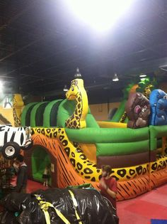 Jungle Themed Playground Inflatables For Birthday Partys With Safari Nation Of Greensboro NC
