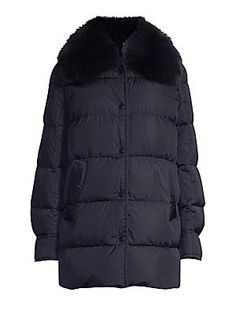 Moncler Mesange Fox-Fur Trimmed A-Line Coat Animal Print Jeans, Lace Wrap, Wool Pants, Quilted Jacket, Fox Fur, Moncler, Fur Trim, Winter Jackets, Clothes For Women