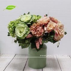 GNW FL-RS60-4-3 Professional manufacturer Multiple colors Rose and hydrangea flower bouquet Artificial