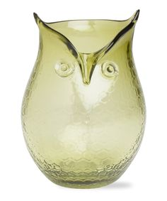 tag Green Owl Hurricane Candle Holder