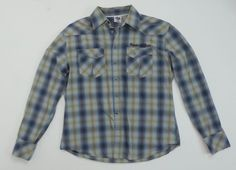 HOUSE OF BLUES Mens Rockaholic Embroidered Plaid Western Shirt Skull Large