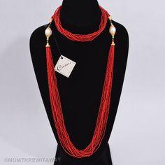Vintage CADORO Multi Strand RED Bead NECKLACE Long or TORSADE Faux PEARLS w/ TAG #Cadoro