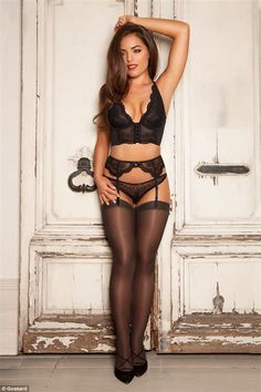 Racy in lace: Olympia Valance sizzles in her latest campaign for lingerie company Gossard, looking particularly stunning in a plunging black bralet, black G-string and matching black suspenders and stockings Belle Lingerie, Hot Lingerie, Black Lingerie, Stockings Lingerie, Stockings Heels, Nylon Stockings, Black Suspenders, Stockings And Suspenders, Olympia Valance