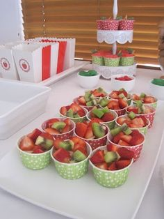 fruit cup - kids healthy party food (To be honest, Im always a little dubious because you make the healthy food and it is still there at the end of the party and, besides, a party is all about party food! When else do kids get to eat that yummy, bad-for-you stuff!?!?!)