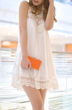 Lace Chiffon Mini Dress - White for the beach or at home! Cute Dresses, Casual Dresses, Short Dresses, Boho Fashion, Fashion Beauty, Fashion Outfits, Pretty Outfits, Cute Outfits, White Mini Dress