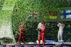 Podium: winner Sebastian Vettel, Ferrari, second place Lewis Hamilton, Mercedes AMG third place Valtteri Bottas, Mercedes AMG Valtteri Bottas, Lewis Hamilton, Mercedes Amg, Formula 1, F1, Ferrari, Third, Concert, Gallery