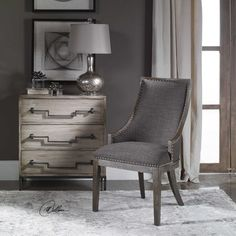 Curved Back Design In Warm Charcoal Gray Linen Accented By Polished Nickel Nail Head Trim Honey Stained Frame Is Finished With Heavy Gray Wash Seat Height Is 20 Accent Furniture, Dining Room Furniture, Dining Chairs, Gray Furniture, Grey Accent Chair, Accent Chairs, Grey Chair, Accent Tables, Painted Fox Home