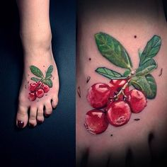 Realistic cranberry tattoos on the left foot.