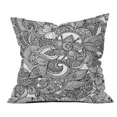 Doodles Pillow from the Valentina Ramos.  My Bedroom is black and White and this pillow or the bedding below there!!
