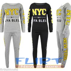 #Womens #Tracksuit #NYC #Varsity #Ladies #Sweatshirt #Tops #Trousers #Casual #Pants