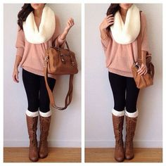 Peach sweater, black skinnies, white scarf, casual outfit, stylish, brown boots