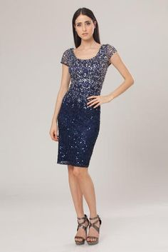 JS Boutique in stock - 263129 Ombre sequin work from silver to navy; $250