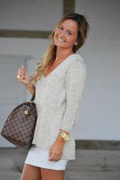 casacos femininos, Sweater Metalizado com saia curta