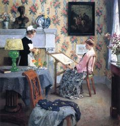 """Penelope"" by Gari Melchers. 1910 oil on canvas. The model seated in the chair is the artists' wife, Corinne. In the collection of The Corcoran Museum (Now part of The National Gallery), Washington, DC."