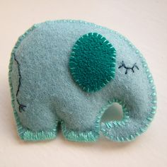 Image of Handmade Felt Blue Elephant Brooch
