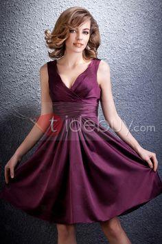 コンサイスショート/ミニ長さVネックベロニカのブライズメイドドレス5018