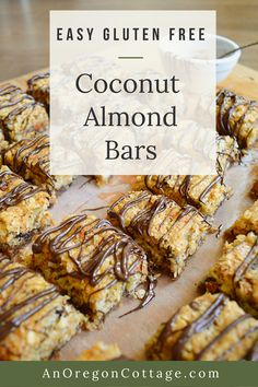 This recipe for flourless coconut almond bars is a healthy, gluten free cookie with a flavor of pecan pie and macaroons. Easy to make with coconut sugar and honey plus a drizzle of dark chocolate. Low Carb Dinner Recipes, Easy Healthy Recipes, Healthy Desserts, Easy Desserts, Sweet Recipes, Real Food Recipes, Snack Recipes, Dessert Recipes, Drink Recipes