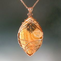 Cream and Brown Picture Jasper Marquise Wire Wrapped Pendant in Copper - product images  of