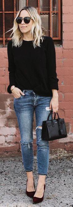 #winter #fashion / Negro Knit / destruido Denim Bombas / Negro / Cuero ini bolsa de asas