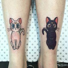 moonie — ngxxx: Sailor moon kitties on Sweet Tattoos, Dope Tattoos, Anime Tattoos, Sister Tattoos, Body Art Tattoos, Tattos, Sailor Moon Cat, Sailor Moon Tattoos, Art Couple