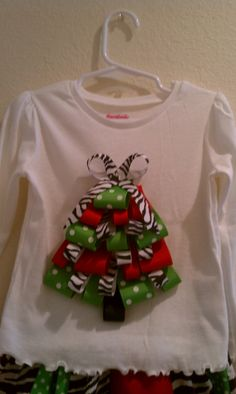 Funky Zebra, Red, and Green Polka Dot  Ribbon Christmas Tree Shirt