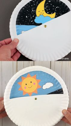 Day and night paper plate for kids. Make this educational paper plate wheel craft with preschoolers and talk about daytime and nighttime, the Earth, Sun, Moon and our Solar System. A fun starry night and happy sun craft to pair with a book or more day and Sun Crafts, Paper Plate Crafts For Kids, Paper Crafts For Kids, Diy For Kids, Decor Crafts, Paper Plate Hats, Arts And Crafts For Kids Toddlers, Rustic Crafts, Book Crafts