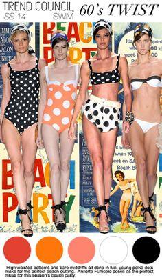 S/S 2014, women's swimwear trend report, viva brazil, 60's twist