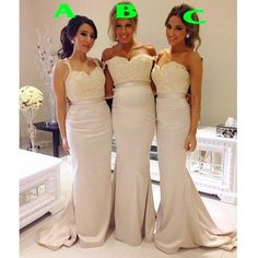 Mermaid Sexy Mismatched Long Lace Top Wedding Bridesmaid Dresses, WG34 – LoverBridal
