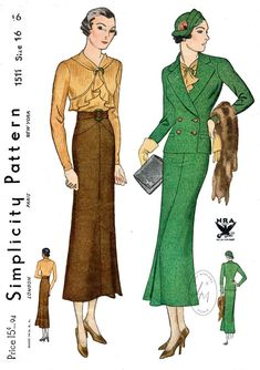 Vintage sewing pattern 1930s 30s 3 piece suit // ruffle blouse | Etsy Vintage Dress Patterns, Vintage Skirt, Vintage Outfits, Vintage Dresses, 1930s Fashion, Vintage Fashion, Black Suit Wedding, Vintage Mode, Vintage Style