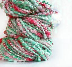 Wool Yarn / Merino Yarn / Hand Dyed/ A Dozen Roses - 60 yards - Handspun Plyed Novelty Yarn by Atomicblue