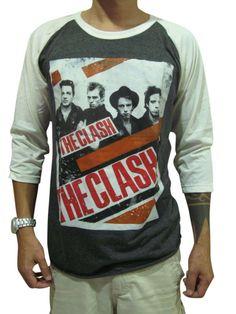 12082e08 Bunny Brand Men's The Clash Band Rock Punk Music Raglan T-Shirt Gray L