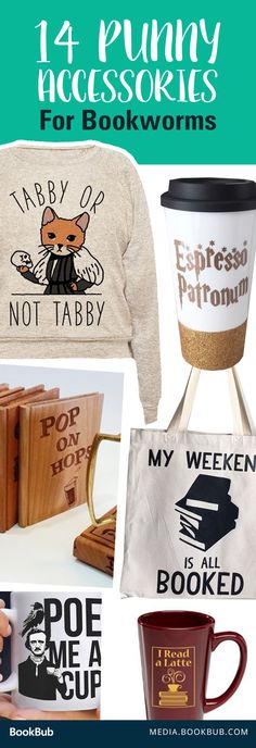 14 punny accessories for bookworms. These would make perfect gift ideas for the book lover in your life!