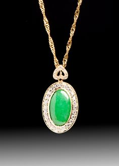 JPratt Designs: Custom designed and custom created yellow gold and diamond and jade pendant with a heart bail
