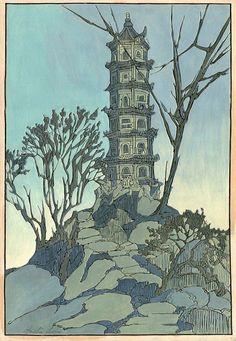 hanga gallery . . . torii gallery: Porcelain Pagoda (raised line) by Bertha Lum