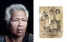 Pete Pin, Cambodian Diaspora Portraits, 2010. From left to right: My grandmother, Duong Meas, August 2010, Stockton, CA.; Family portrait circa 1973, one of only two items saved by my family from before the revolution. Courtesy of the artist.  Pete Pin's ongoing series of diptychs place present-day portraits of individuals in conversation with images from personal archives. Produced on location via a portable studio and scanner set up in homes, community centers and temples of the Cambodian…