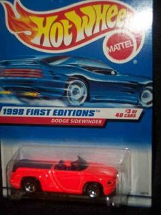 1998 First Editions #3 Dodge Sidewinder White HW Logo Red Card #634 Mint Hot Wheels