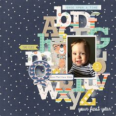 Quinn's 1st Year Cover by Rebecca #digitalscrapbooking #scrappingwithliz #digitalscrapbook #scrapbooklayout #scrapbook