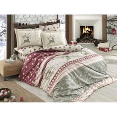 Dose Of Modern Ludovica - Red Poplin Double Quilt Cover Set - White Red Beige Grey Salmon