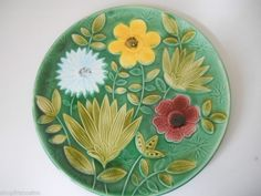 "Authentic French Sarreguemines Majolica Floral Plate 7 1/2"" Green ExcCondition 