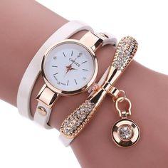Genvivia Fashion ladies Women watch Leather Rhinestone Analog Quartz Wrist Watches Christmas Bracelet Watch relogio feminino
